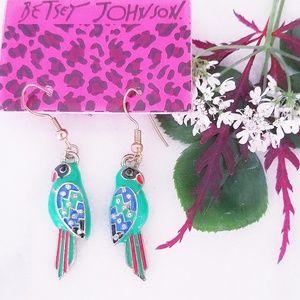 Betsey Johnson Iridescent Crystal Earrings parrot